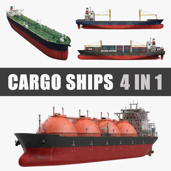 3D cargo ships 2 model