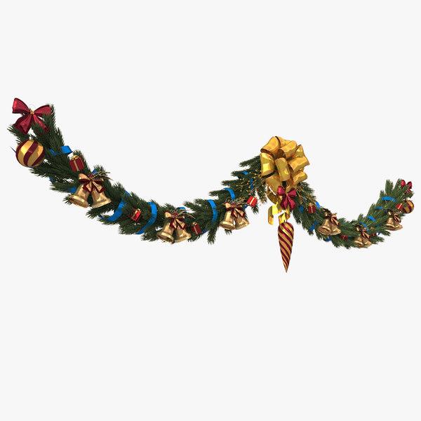 3d model christmas wreath garland