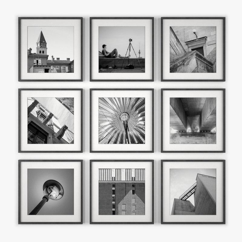 3d model of decorative photo wall