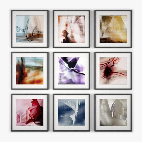 picture frames art wall design 3d model