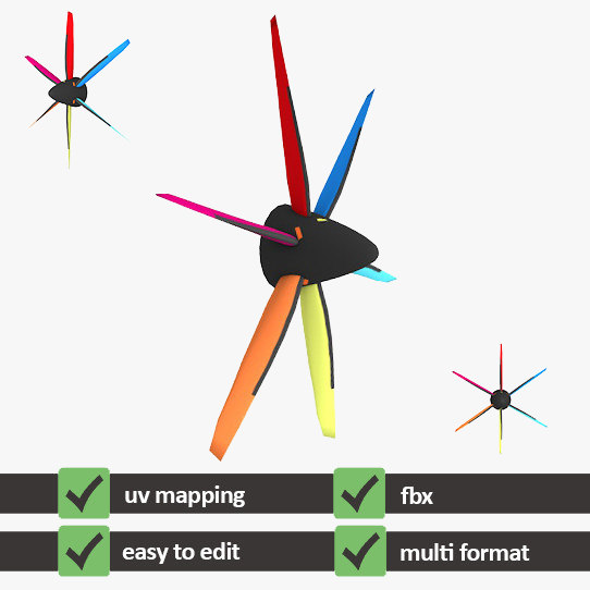 3d propeller airplanes uv