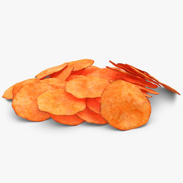 realistic potato chip 4 3d model
