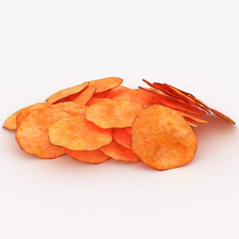 realistic potato chip 4 3d model