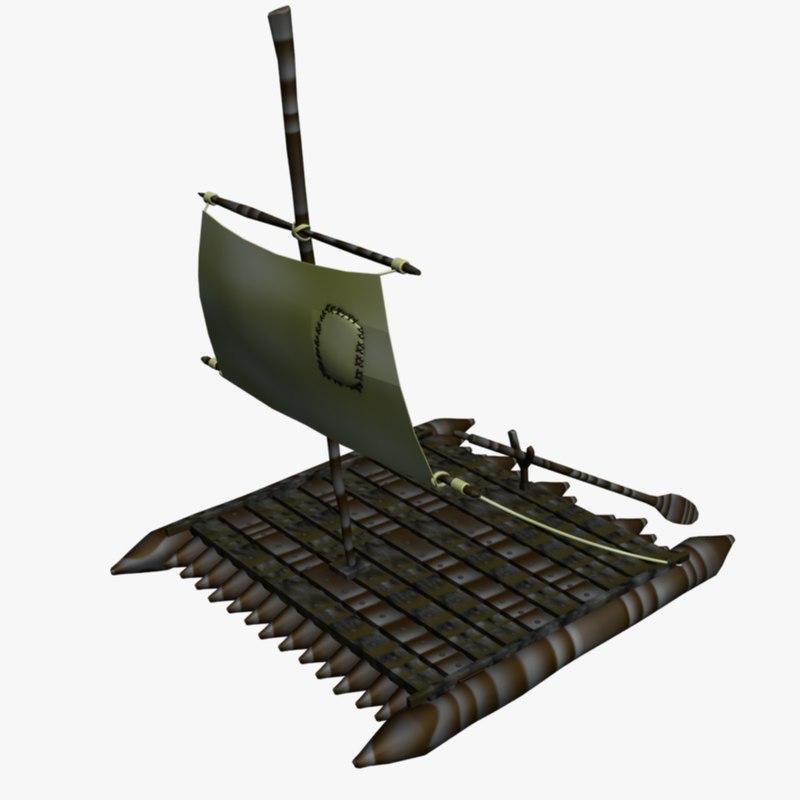 3d model raft huck finn