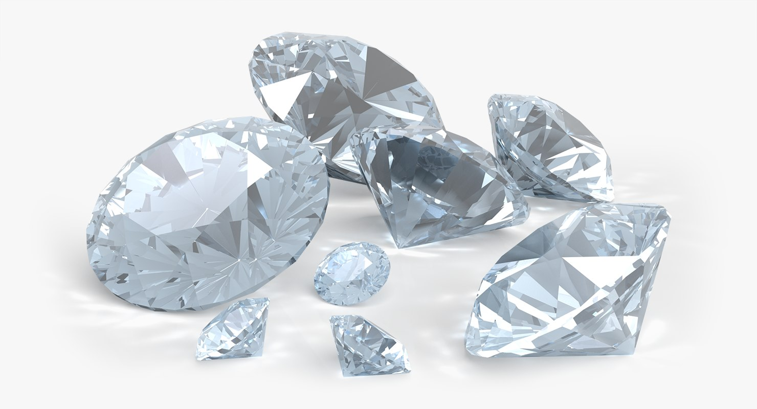 3d crystal diamonds model