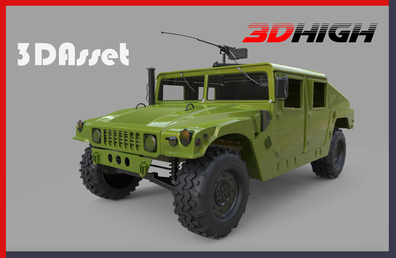 3d military humvee green model