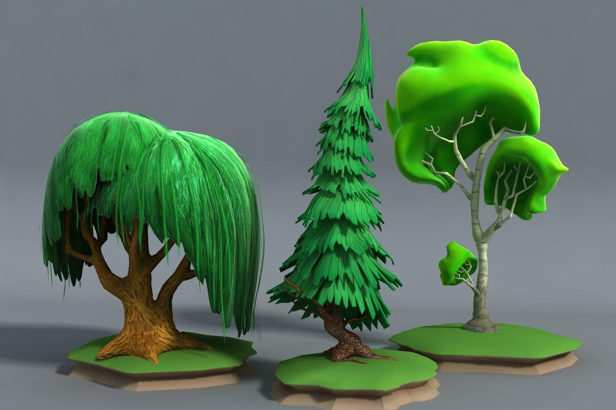3d cartoon stylized forest