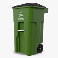 Wheeled Recycling Container with Lid 3D Model