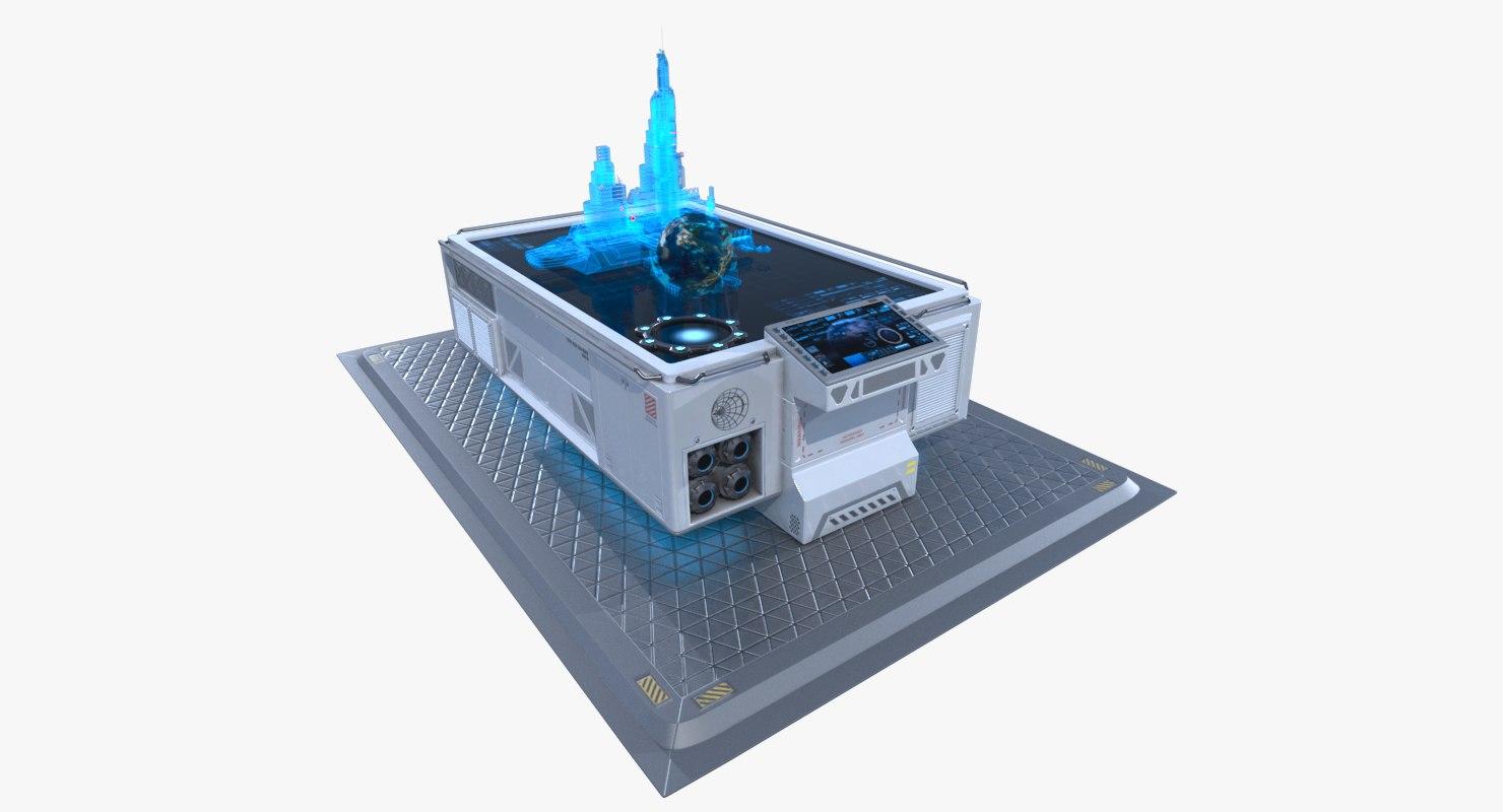 3d model of sci-fi table hologram
