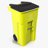 Recyling Bin Yellow 3D Model