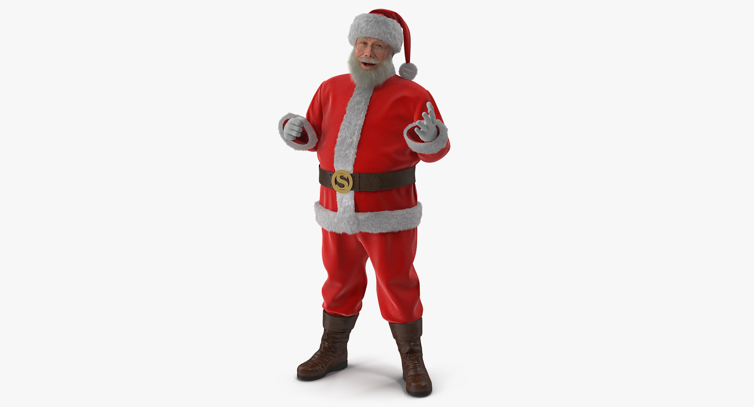 santa claus fur rigged 3D model