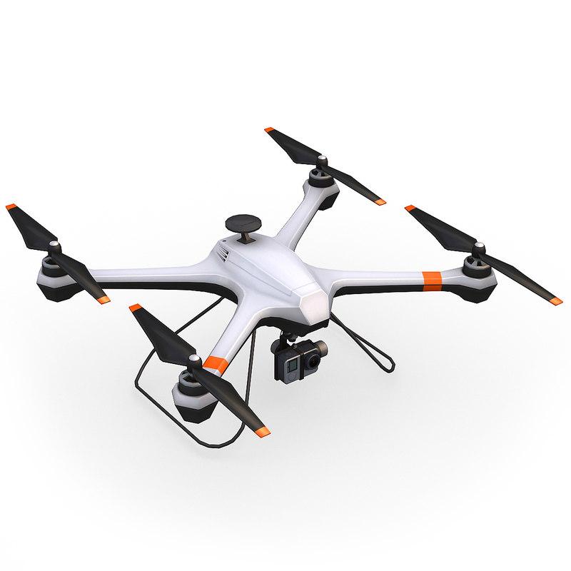 3d model remote camera drone