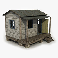 small wooden shed 3d model