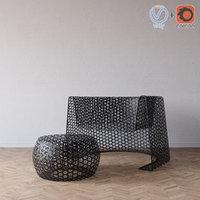 black lace chair ottoman 3d 3ds