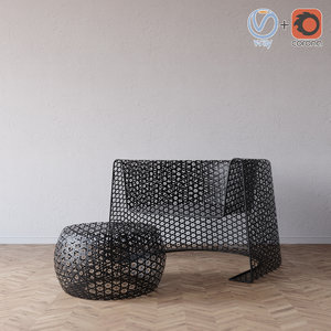 black lace chair ottoman 3d 3ds