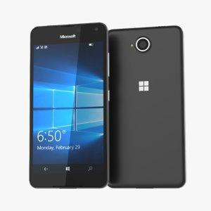 free microsoft lumia 650 black 3d model