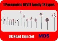 UK Road Signage - 18 Types Parametric Height