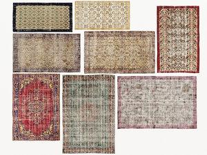 3D old carpets rugs model