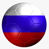 3d soccer ball russia flag model