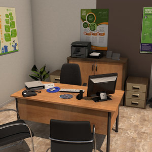 3d model office room pack 3