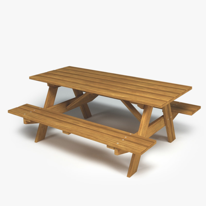 outdoor wooden bench table 3d max