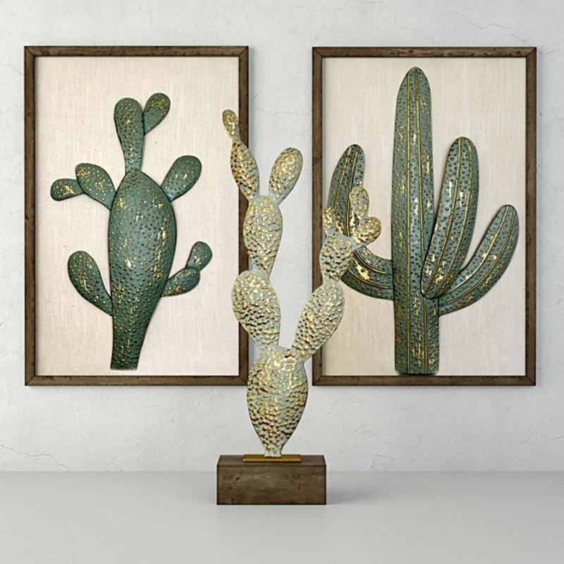 metal cactus sculptures 3D model