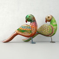 3D rustic carved painted parrots