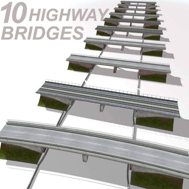 highway bridge set 3ds