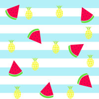seamless tileable pattern - slice watermelon and pineapple