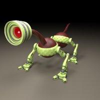3d max cute lens robot characters