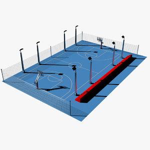 3d c4d outdoor basketball court