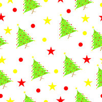 seamless pattern with Christmas tree and stars