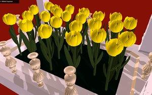 tulips bedflowers - love 3D model