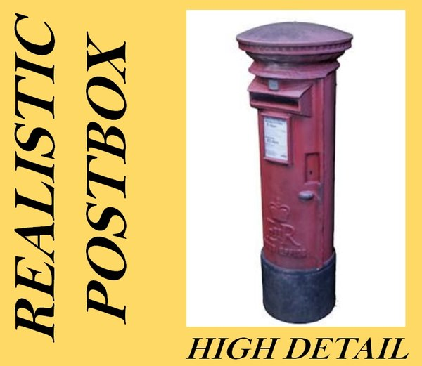 3d realistic royal mail post box