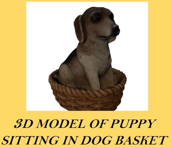 3d model puppy dog sitting basket