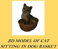3d realistic cat basket model