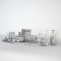 Dining Silver Glass Tableware Set