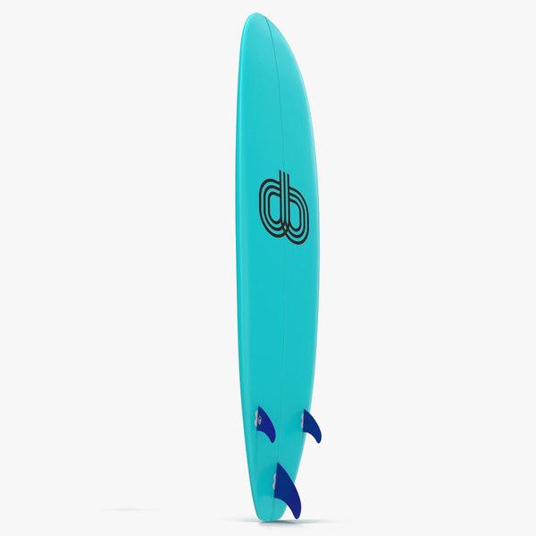 surfboard longboard 4 modeled 3d model
