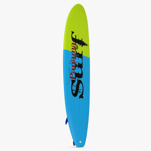 surfboard longboard 2 modeled 3d 3ds