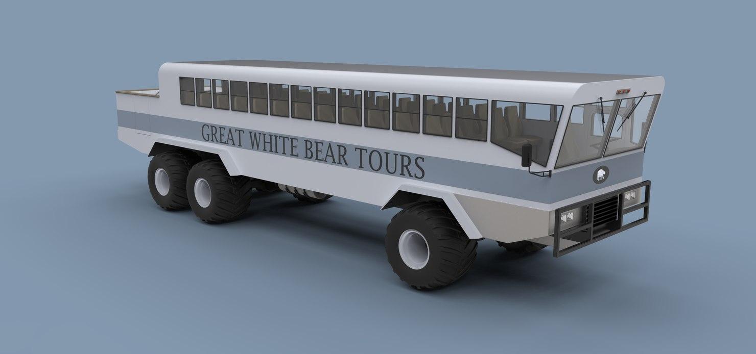 3D white polar rovers model