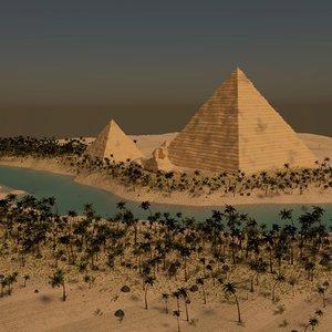 3d pyramids giza scene model
