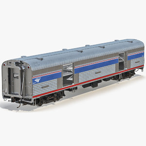 railroad amtrak baggage car 3d 3ds