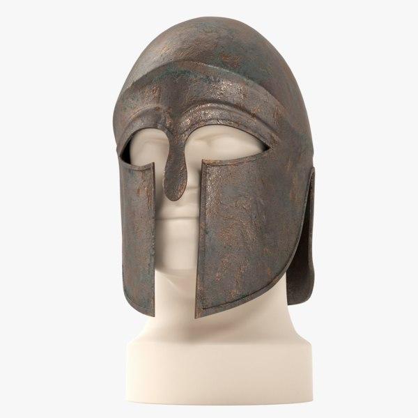 3d model of greek corinthian helmet
