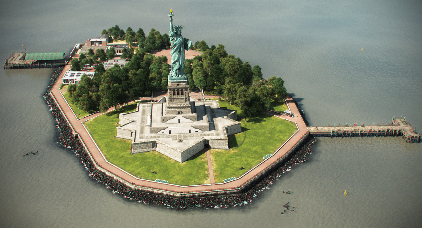 3d island statue liberty scene model