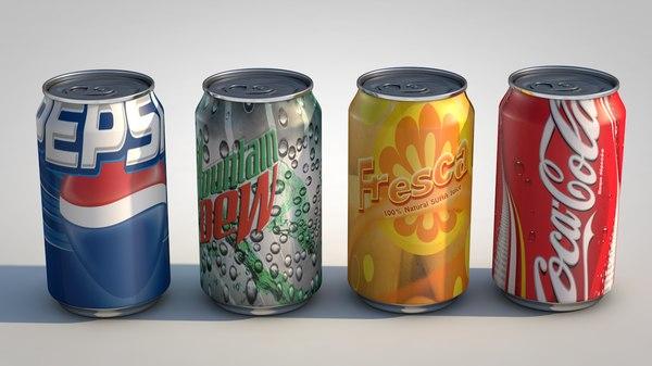 canned beverages pepsi 3d model