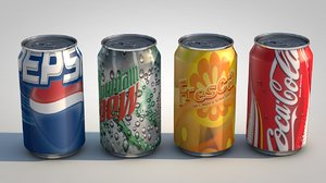 canned beverages pepsi 3d model