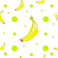 seamless pattern with bananas and green polka dots