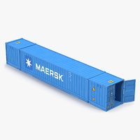53 ft Shipping ISO Container Blue 2 3D Model