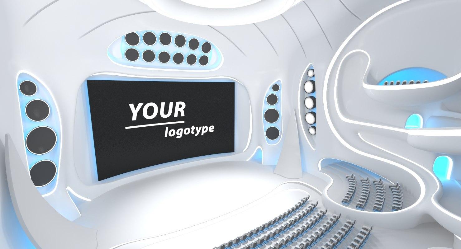 sci-fi futuristic hall interior 3D model