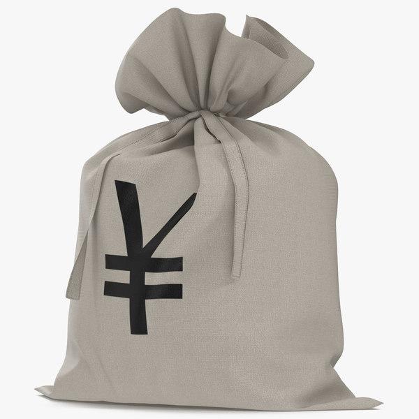 money bag yen modeled 3d c4d